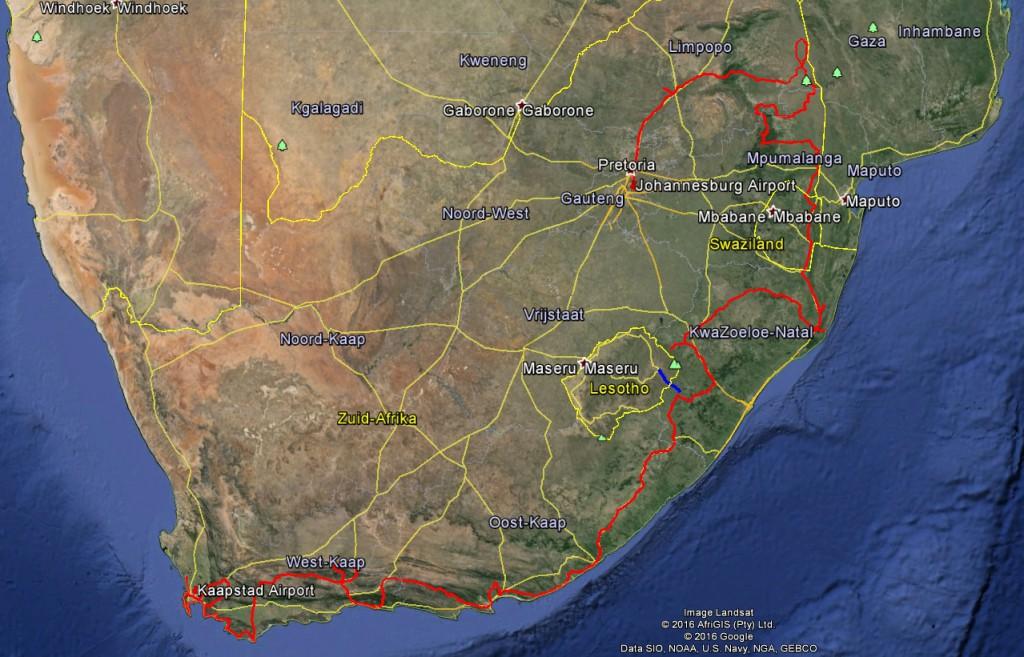 Op de kaart gezet  - Birdybear Zuid Afrika 2016